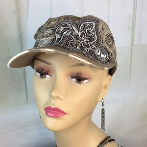 KBethos Tan Embellished Distressed Painters Cap